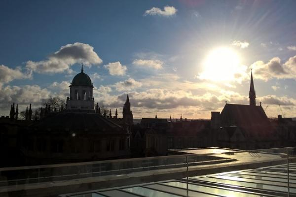Oxford skyline with sun settting
