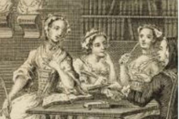 Four ladies sat at a table, the frontispiece to The Female Spectator, London: 1746