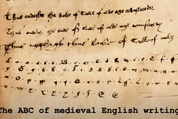 abc medieval english writing film title screen