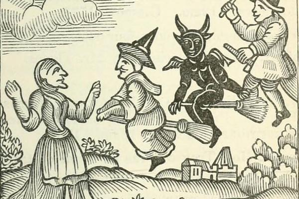 Woodcut of witches on broomsticks from The History of Witches and Wizards (1720)