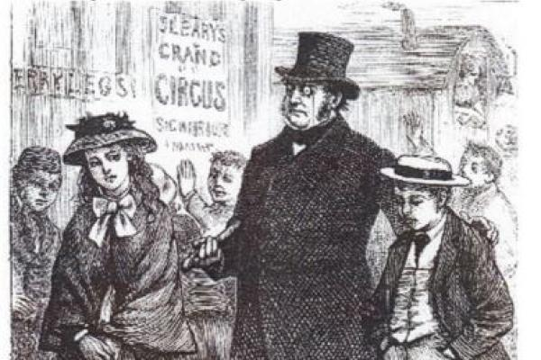 Title page vignette of Hard Times by Charles Dickens: Thomas Gradgrind Apprehends His Children Louisa and Tom at the Circus