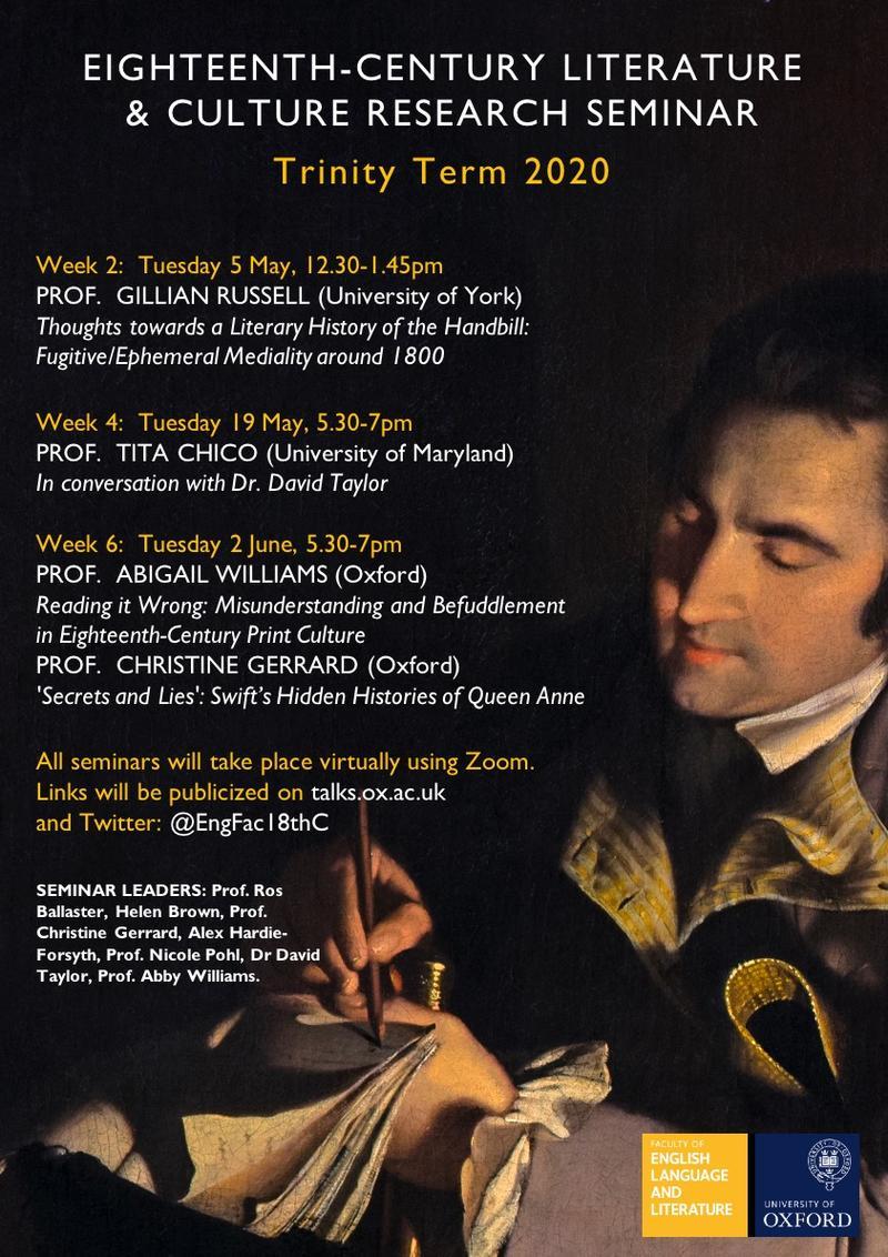 18th Century Literature & Culture Research Seminar Trinity Term 2020