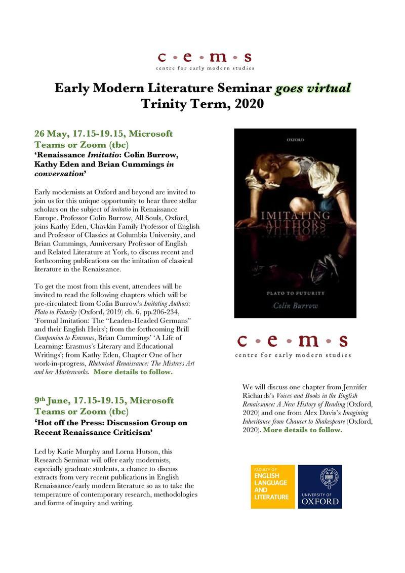 Early Modern Literature Seminar TT 2020