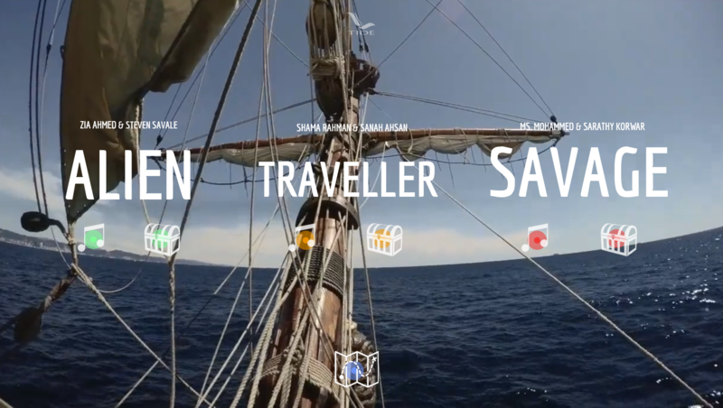 tide salon homepage, a seascape with 3 words in large font: alien, traveller and savage