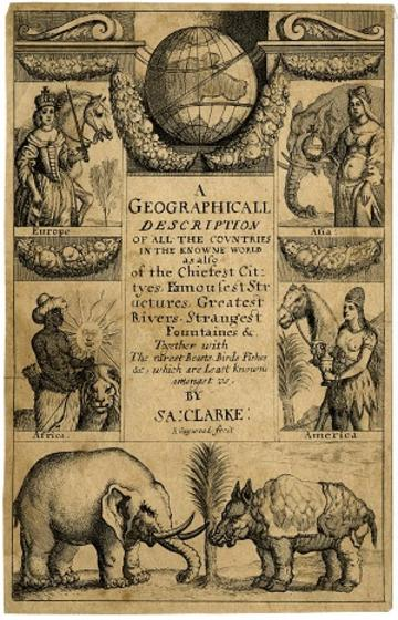 Title-page to Samuel Clarke, 'A geographicall description of all the countries in the knowne world' (London, 1671)