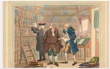 A watercolour of a scene inside a bookshop 1784